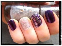 Opi Grape... Set... Match + Essence Color&Go 183 be my lucky star (sparkle sand effect), stamping with @MoYou-London  Mother Nature 02 & Catrice 42 Nickel Minaj