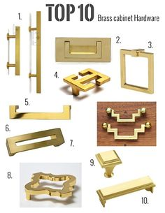 Cabinetry hardware - My top 10 Brass hardware picks (Live Like You & Marmalade Interiors) – Cabinetry hardware Brass Cabinet Hardware, Kitchen Hardware, Home Hardware, Hardware Pulls, Dresser Hardware, Bungalows, Brass Kitchen, Kitchen Fixtures, Le Riad