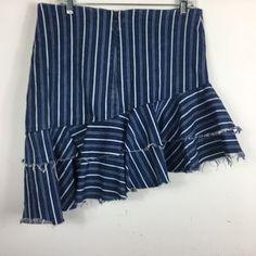 Zara Skirts | Zara Striped Denim Asymmetric Ruffle Skirt M | Poshmark Ruffle Skirt, Ruffles, Zara Skirts, Layered Skirt, Blossoms, Blue And White, Stripes, Denim, Pants