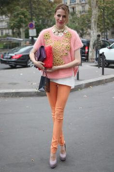 Return of the pastel shades at #PFW this morning with 3D embellishment and rope embroidery #streetstyle  WGSN Street Shots, Paris