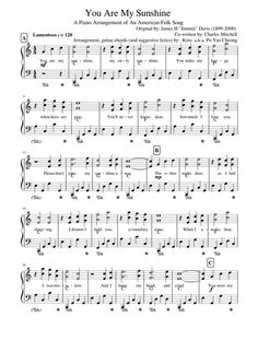 You Are My Sunshine sheet music for Piano download free in PDF or MIDI