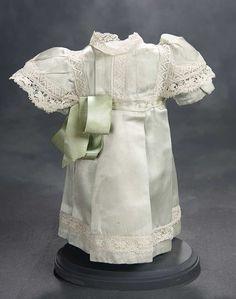 """What Finespun Threads"" - Antique Doll Costumes, 1840-1925 - March 12, 2017: 304 Aqua Sateen High-Waisted Dress"