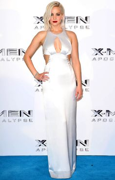 Jennifer Lawrence in a sexy white keyhole Dior Haute Couture dress