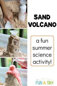 Make a DIY sand volcano even if you are nowhere the beach or even a sandbox! There's even a secret ingredient to make the vinegar and baking soda reaction more frothy! Summer Preschool Activities, Science Experiments For Preschoolers, Science For Kids, Stem Activities, Chemistry Experiments, Science Chemistry, Science Fun, Science Ideas, Physical Science