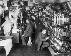 The interior of a British E class submarine during the First World War. Description from iwmprints.org.uk. I searched for this on bing.com/images