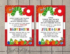 Hungry Caterpillar - YOU PRINT (Digital File) Custom Printable Baby Shower Invitation