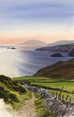 Towards Bardsey, an original watercolour painting by Rob Piercy Watercolor Sky, Watercolor Landscape, Watercolour Painting, Landscape Art, Painting & Drawing, Landscape Paintings, Watercolours, Watercolor Painting Techniques, Watercolor Artists
