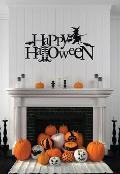 Witch Wall Decal  - Happy Halloween - Vinyl Sticker for Halloween Decoration - Wall Decal for Home,