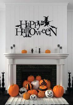 Witch Wall Decal  - Happy Halloween - Vinyl Sticker for Halloween Decoration - Wall Decal for Home,