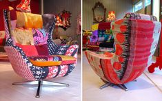 A modern chair from Squint Limited: I like the Kilim fabric on the back but not the hodgepodge on the front.