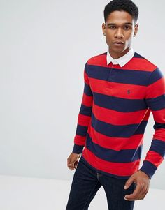Get this Polo Ralph Lauren's polo shirt now! Click for more details. Worldwide shipping. Polo Ralph Lauren Stripe Rugby Polo Long Sleeve Custom Slim Fit in Red - Red: Polo shirt by Polo Ralph Lauren, Breathable cotton, Polo collar, Concealed button placket, Contrast tipping, Long sleeves, Slim fit - cut close to the body, Machine wash, 100% Cotton, Our model wears a size Medium and is 6'1�/185.5 cm tall. Naming his brand after a game that embodies classic style, Ralph Lauren created Polo…