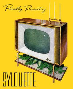 """imperialgoogie:  midcenturymodernfreak:  1957 """"Sylouette"""" Television by Sylvania -Via  The only television set that needs monthly trimming."""