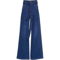 Belted Flare Jeans | Moda Operandi (1.255 RON) ❤ liked on Polyvore featuring jeans, flared leg jeans, flare jeans, blue flare jeans, tie belt and mid rise flare jeans