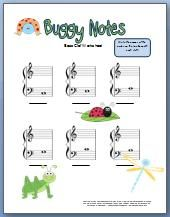 Cute Bass Clef Worksheets for little kids. Can print for free!