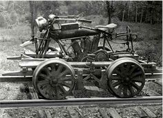 Indian motorcycle that's been converted to run a small one man railcar, probably used by an railway inspector or engineer to check lines and perform maintenance tasks.