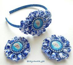 Набор для девочки,ободок и заколки, kanzashi, kanzashiflower, канзаши, heandband, hair clip, холодное сердце, комплект для девочки