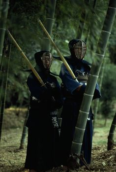 Japanese kendo fencers use bamboo poles as swords.