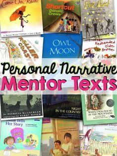 Personal Narrative Mentor Texts | True Life I'm a Teacher