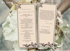 Printable Wedding ceremony programme template Vintage by Oxee, $5.00