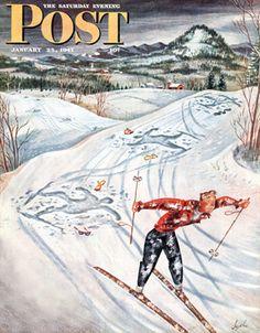 Snow Skiier After the Falls (Constantin Alajalov, January 25, 1947)
