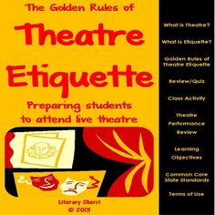 The Golden Rules of Theatre Etiquette prepares students to attend live theatre… Drama Teacher, Drama Class, Learning Objectives, Student Learning, Teaching Theatre, Theatre Games, Middle School Drama, Drama Activities, Drama Education