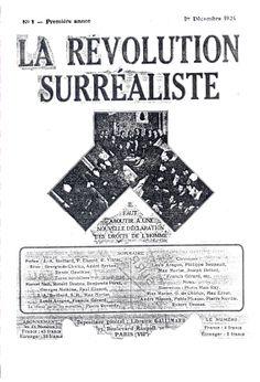 Cubierta de La Révolution Surréaliste, nº 1, 1924.