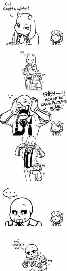 Toriel, Frisk, Papyrus, and Sans - MobsterUT AU - comic