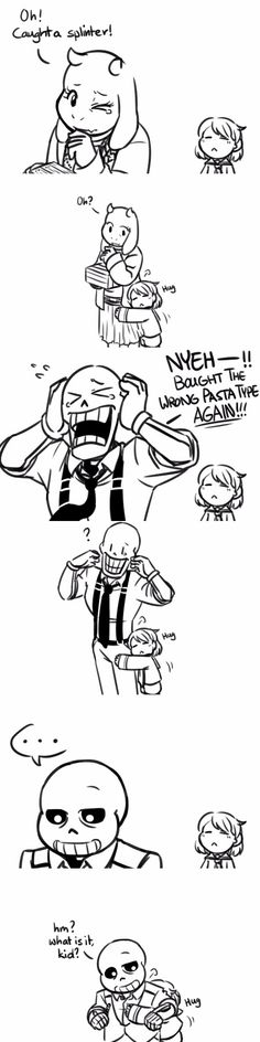 Toriel, Frisk, Papyrus, and Sans - MobsterUT AU - comic