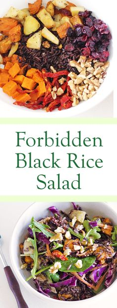 Vegan Forbidden Rice Salad. Recipe is very easy to follow, without sacrificing balanced taste. It's healthy, too! #vegan #veganfood