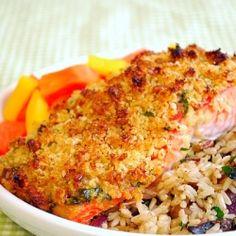 Dijon salmon with panko and pecan