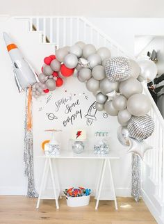 Boys First Birthday Party Ideas, Baby Boy First Birthday, Boy Birthday Parties, 5th Birthday, Welcome Home Parties, Outer Space Party, Balloons, Balloon Garland, Silver Table