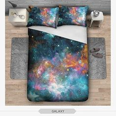 OJIA 3D Prints Beautiful 100% Cotton 3-Piece Dark Galaxy Bedding Sets 1x Duvet Cover and 2x Pillow Covers Twin Size