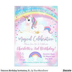 Rainbow Birthday Party, Unicorn Birthday Parties, Girl Birthday, Birthday Ideas, Unicorn Birthday Invitations, Unicorn Gifts, Unicorn Decor, Party Ideas, Magical Unicorn