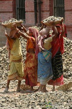 Carrying Heavy Load of Rocks - Kolkata, India  Relief