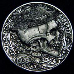 ROBERT MORRIS HOBO NICKEL - 1936 BUFFALO SKULL