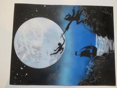 Peter pan fantasy spray paint art scene by AndiDesigns on Etsy, $30.00