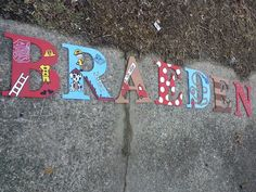Engine 27/ fire man Wood letters hand drawn and hand painted www.facebook.com/andbabymakesthreee