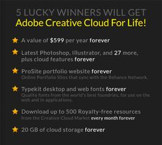 Enter To Win Adobe Creative Cloud For Life FREE!