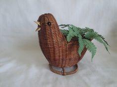Cute Wicker Chicken / Baby Chick Basket Planter Vintage