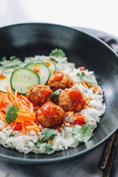 thai turkey meatballs over ginger coconut basmati rice thai turkey ...