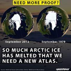 So much arctic ice has melted that we need a new atlas. / Les glaciers arctiques ont tellement fondu qu'il nous faut un nouvel atlas.