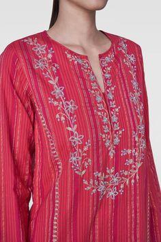 Ladies Kurta - Buy Leilani Kurta for Women Online - - Anita Dongre Embroidery Suits Punjabi, Embroidery On Kurtis, Kurti Embroidery Design, Couture Embroidery, Embroidery Fashion, Abstract Embroidery, Aari Embroidery, Machine Embroidery, Indian Wedding Outfits