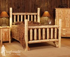 pictures of log beds | LogHeads 4 Poster Rustic Log Bed from Rocky Top Cedar Log Furniture ...