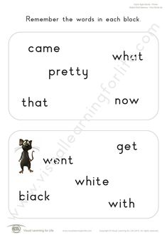 """In the """"Added Word Memory"""" worksheets, the student must remember all the words on the first page so that they can identify the word that has been added on the second page from memory. Learning For Life, Visual Learning, Memory Words, Visual Memory, Three Words, First Page, Sight Words, Worksheets, Teacher"""