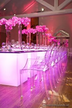 Clear bar stools with dramatic lighting....yes please  Dramatic Pink Wedding Reception Design - The French Bouquet - Chris Humphrey Photography