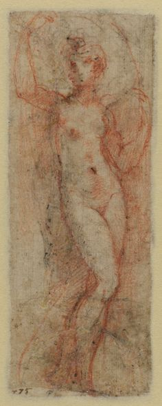 Verso: This red chalk study is a variation of the standing female nude on the other side of this sheet executed in pen and ink. An ink spot  marking the figure's navel has seeped through to this side of the paper, which Parmigianino used to mark the same feature of his second nude in red chalk. This is an unusually creative approach to developing the two female figures in different positions, both serving the artist as models for the decoration of Santa Maria della Steccata in Parma.