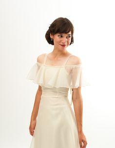 So Pretty!!!  Vintage 1970s Wedding Dress - 70s Wedding Gown - Sheer Ivory - Deadstock.