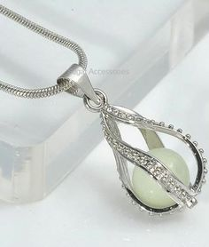 Glow In The Dark Teardrop Pendant Necklace Crystal Jewelry, The Darkest, Glow, Pendant Necklace, Crystals, Bracelets, Silver, Jewellery, Accessories