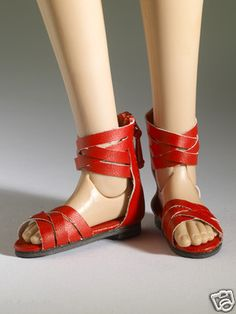 Tonner Nu Mood Red Sandals Flat 4 Doll Shoes 2012, New - See the Buy-It-Now Ebay listing.