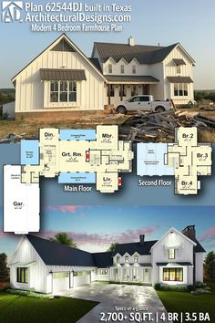 Plan Modern 4 Bedroom Farmhouse Plan-Architectural Designs Modern Farmhouse House Plan client built in Texas! Farmhouse Interior, Farmhouse Plans, Modern Farmhouse, Farmhouse Style, The Plan, How To Plan, Board And Batten Cladding, House Floor Plans, The Fresh